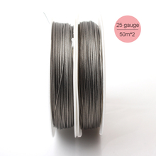 2pcs 0.45mm Tigertail Nylon Coated Wire Total 100m Spool Jewelry Beading Soft Craft Stainless Steel Gray Wire Nacklace Findings