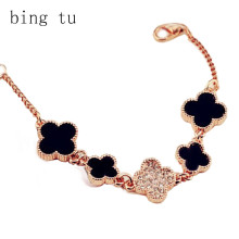 Bing Tu New Fashion Bracelet femme Brand Design Rose Gold Color Black Four Leaf Clover Chain Bracelets Women Crystal Jewelry