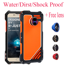 For S7 Luxury Dirt Shockproof Waterproof Metal Aluminum Phone Case For Samsung Galaxy S7 edge 3 in 1 micro lens+Tempered R-just(China)