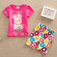 2016 summer children girl clothing sets fashion cartoon baby girls&boys sports costume shorts kids clothing set suit