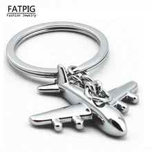New Metal Alloy Polished Aircraft Keychain 3D Airplane Model Keychain Key Chain Ring Keyfob Free Shipping(China)