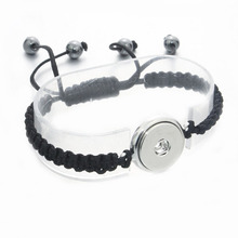 Fashion Braided PU Leather Snap Bracelets Jewelry Fit 18mm Snap Buttons Silver Tone with Charm Wrist band Wholesale 040314