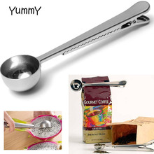 2016 Silver Stainless Steel Ground Coffee Tea Measuring Scoop Spoon With Bag Seal Clip