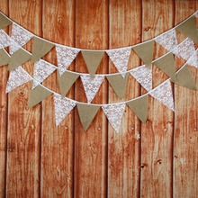 3M 12 flags Burlap Flower Lace Wedding Decoration Bunting Vintage Banners Photo Prop Home Garland Room Decor(China)