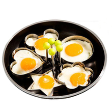 5pcs/set Stainless Steel Omelette Device Fried Egg Model Love Star Plum Flower Mickey Circle Egg Mould Pancake Breakfast Mold(China)