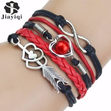 Multi-Strands Infinity Silver Color Heart Charm Leather Braid Bracelet Bangle Jewelry 9 Colors For Women and Men 2017(China)