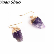 2016 free shipping European American fashion accessories wholesale Natural stone natural purple crystal Irregular earrings(China)