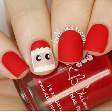 Red Christmas false nails french Cute pure color cartoon pattern matte fake nails Japanese 24pcs with glue short full nail tips