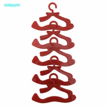 10 Pcs/lot Red Hangers Dress Clothes Accessories For Barbie Doll Pretend Play Vintage Hard Plastic Hanger Girls' Best Gift