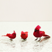 3pcs Lovely Feather Simulation Birds Creative Animals Figurine Handmade Crafts Garden Ornaments Red Artificial Bird Dropshipping(China)