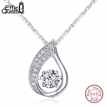 Effie Queen Solid 925 Sterling Silver Women Necklace New Flickering Zircon Design Ladies Pendant Necklaces Jewelry BN41(China)