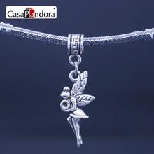 CasaPandora Silver Plated Flower Fairy Flower Angel Elfin elf Shape Pendant Fit Bracelet Charm DIY Bead Making Pingente Berloque