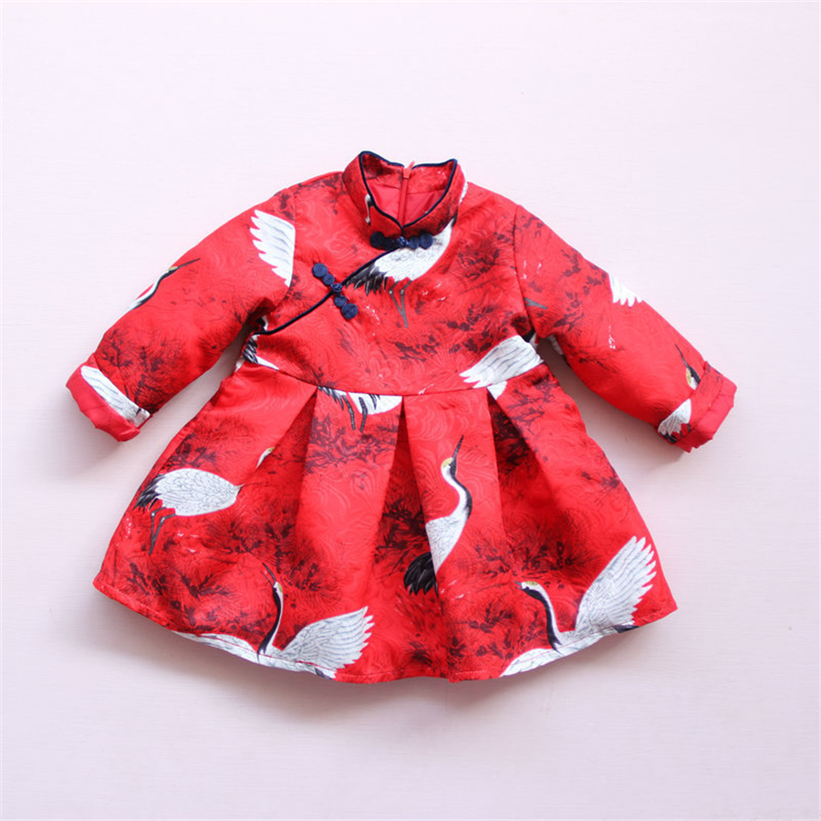 New Girls Dress Vintage Chinese Style Red Crane Printing Dresses Warm Thicken Velvet Baby Girls Winter Kids Dresses 70C1003<br><br>Aliexpress