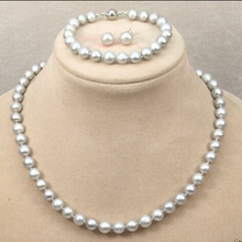 Miss charm Jew.411 Fashion Natural 8-9mm Gray Freshwater Pearl Necklace Bracelet Earrings Set hot