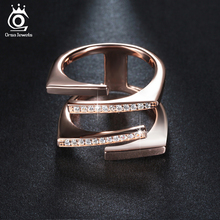 ORSA JEWELS Rose Gold Color&Silver Color Unique Geometric Design CZ Ring Paved 22 Pieces Austrian Zircon Fashion Jewelry OR127