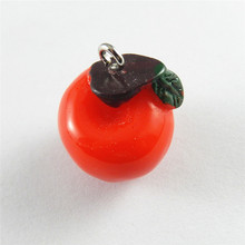 Wholesale 10PCS Cute Red Apple Fruit Charms Resin Handmade Crafts Jewelry Making Finding Necklace Pendant Hanging Art 52095(China)