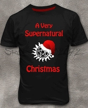 Supernatural Christmas T-shirt Dean Winchester New Year Men's Tee Shirt M - 2XL(China)