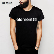 2018 New Hot Element Print 100% Cotton Men's T-shirt Short Sleeve Summer Male Tshirts Loose Letter High Quality Brand Clothing(China)