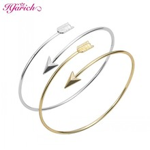 Classic Adjustable Arrow Bracelets & Bangles for Women Gold Wrapped Arrow Wire Cuff Bangles Party Gift Female EY-G016