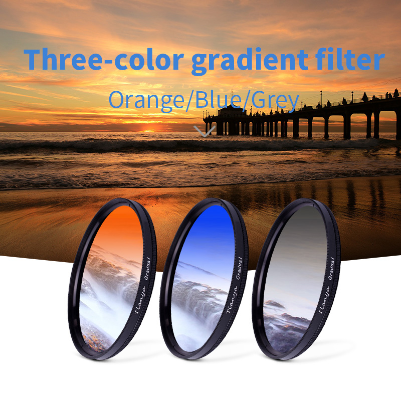 tianya 3in1 Gradient filters 40.5 46 49 52 58 62 67 72 77 82mm gradient gray blue orange change the colour Scenery photography(China)