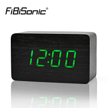 FiBiSonic Wooden Alarm Clocks With Thermometer ,Sound Control Wood Led clocks, Digital Desk&Table Clock(China)