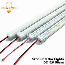 LED Bar Lights DC12V 5730 LED Rigid Strip 50cm LED Tube with U Aluminium Shell + PC Cover 5pcs/lot