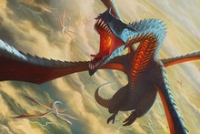 Canvas Poster artwork fantasy art dragons group flying wings AT045 Room home wall modern art decor