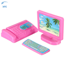 XFC Mini Modern Computer Keyboard Fax Toy Dollhouse Accesory Play house for Doll Pretend Play(China)