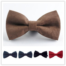 Men's Fashion Classic Solid Color Butterfly Wedding Party Bowtie Red Black White Brown Bow Tie Plush Leather Bow Ties For Men(China)