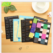 6PC/Lot Creative Year 2017 Rainbow Mini Calendar Stickers Decorative Diary  Index Lable Sticker DIY Planner Bookmark Sticker