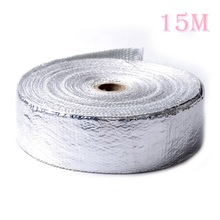 5cm*15m Aluminum Foil Fiberglass Glass Fiber  Wrap 6 Stainless Ties Thermostability fit Exhaust Header Heat Resistance Tape