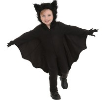 Boys Halloween Costumes Animal Cosplay Cute Black Bat Costume Kids Black Zipper Jumpsuit Connect Wings Batman Clothes