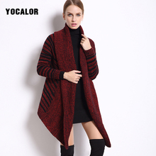 YOCALOR Striped Knitting Oversize Best Lady Christmas Sweater Women Winter Jersey Long Knitted Jumper Female Coat Autumn Fall(China)
