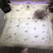 Luxury Brand Designer Satin Lavender Embroidery  Bedding Set 4 pcs Queen King Size Hot Bed Linen Duvet Cover Flat Sheet Sets