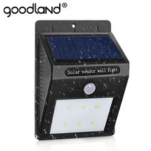 Goodland LED Solar Lamp Waterproof PIR Motion Sensor Solar Light Power Garden LED Solar Light Outdoor ABS Wall Lamp