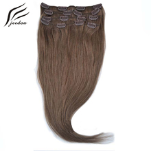 jeedou Straight Synthetic Hair Clip In Hair Extensions 18inch 7Pcs 120g Real Natural Hair Black Brown 12Color Women's Hairpieces