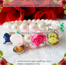 free ship 2pcs/lot cute 8mm glass faux pearl bracelet, pearl bangle with soft clay bead rosary