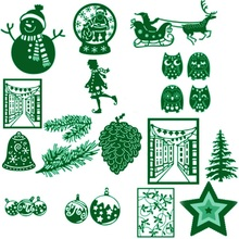 Deer Bell Snowman Christmas Tree Metal Cutting Dies Stencil DIY Scrapbooking Photo Album Decor Embossing Cards Making DIY Crafts(China)