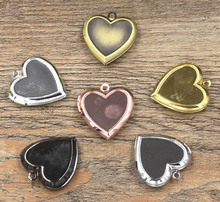 23mm Vintage Photo Locket Antique Bronze tone Brushed Openable Heart Wish Box Prayer Pendant European Charms(China)