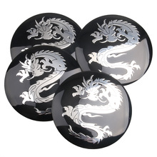 4pcs/ Lot Dragon logo Car Steering tire Wheel Center car sticker Hub Cap Emblem Badge Decals Symbol For Honda VW Audi BMW
