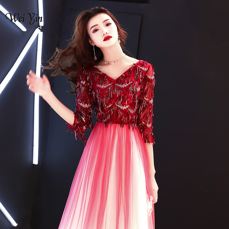 weiyin Evening Dresses Long V Neck Sequined Long Sleeves Satin Elegant Formal Party Gowns Wine Red Evening Gowns Robe De Soiree