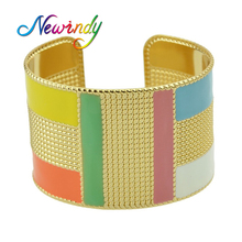 Newindy Statement Punk Style Jewelry Bijoux Gold-Color Bangles Colorful Enamel Open Cuff Bracelets Wide Big Geometric For Women(China)