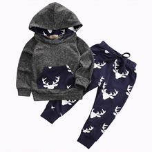 Autumn Winter 2016 Baby Boys Girls Warm Thick Outfits Deer Hooded Top+Pant Leggings Kids Clothes deer printed Kids suits