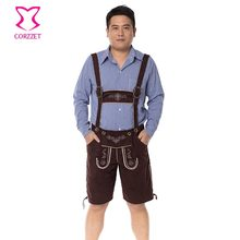 Men's Lederhosen Beer Costume Sexy Bavarian Gentleman Deguisement Adultes Halloween Costume For Men Oktoberfest Party Shorts(China)