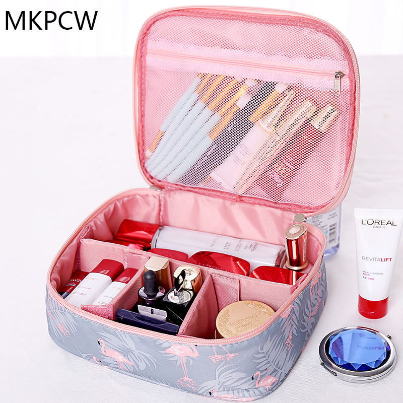 Neceser waterproof Women Makeup bag Cosmetic bag Case Travel Make Up Toiletry bag Organizer Storage pouch set box professional(China)