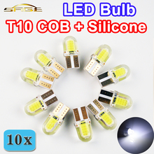 10 PCS Auto LED T10 W5W COB+Silicone Shell 20 Chips Cold White Color 12V Canbus Car Side wedge/License Plate Lamp Bulb