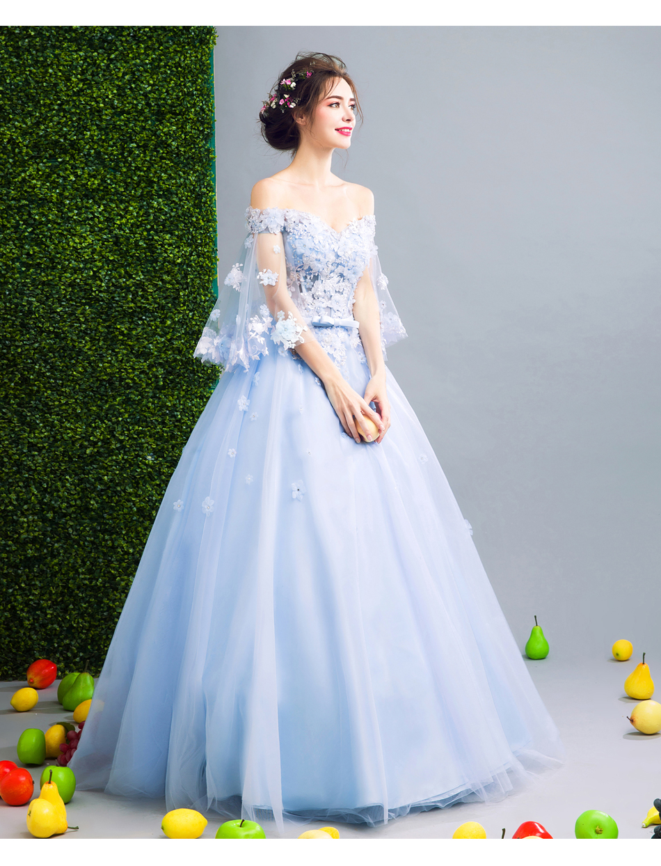 Angel Wedding Dress Marriage Bride Bridal Gown Vestido De Noiva Fairy, blue, handmade petals 2017 257 17