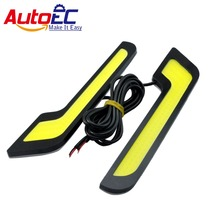 AutoEC Led DRL COB  L Shape Car Auto Driving Daytime Running light Front Fog Lamp Strip Xenon White #LM50