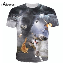 Raisevern Brand New Catnado Full Print 3D T Shirt Funny Cat In The Dark Clouds Tee Harajuku Fashion Animal Tops Plus Size