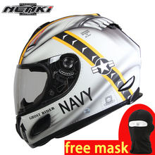 NENKI Motorcycle Helmet Full Face Street Motorbike Racing Breathable Helmet Approved Clear Lens Shield Anti-fog Moto Helmet 802